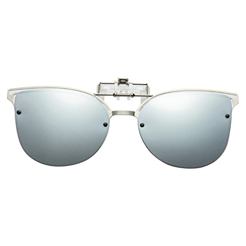 con Gafas up Clip Gafas montura sol metálica Eye sol on Blanco Inlefen Flip de Polarized de Cat vgCwnqOI