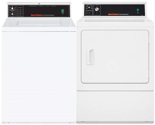 Speed Queen Top Load SWNMN2SP115TW01 26″ Washer with Front Load SDEMNRGS173TW01 27″ Electric Dryer Commercial Laundry Pair in White