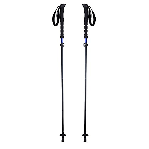 HILLPOW Aluminum Alloy Trekking Poles - Lightweight, Folding, Adjustable, Perfect For Travel Hiking Walking Climbing, Pack of 2 (Black)