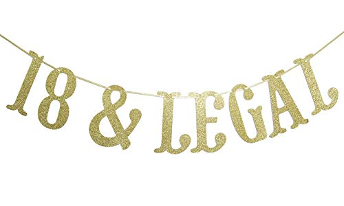 Firefairy 18 & Legal Gold Glitter Garland Banner-Funny Happy 18th Birthday Party Supplies, Ideas and Decorations]()