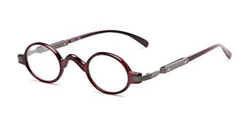 Readers.com Reading Glasses: The Sterling Reader, Metal Round Style for Men and Women - Red, ()