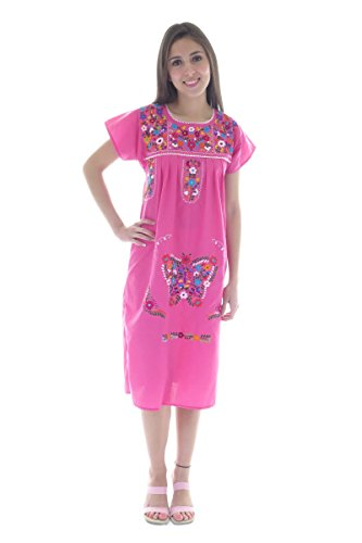 Mexican Clothing Co Womens Mexican Dress Peasant Tehuacan Poplin