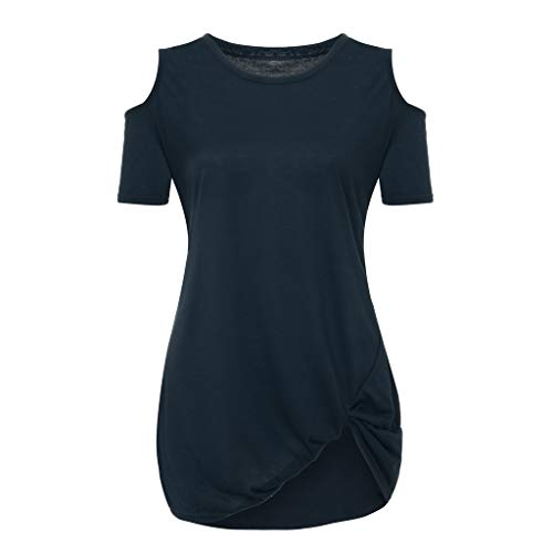 IAMUP Ladies Casual Short Sleeve Tops Strapless Solid Elegant T-Shirt Loose Soild O Neck Top Blouse Navy by IAMUP (Image #4)