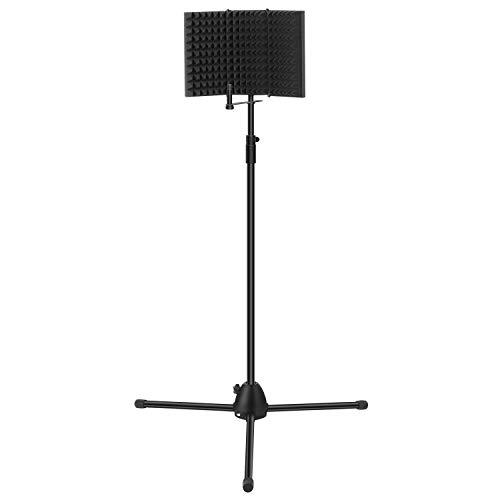 TONOR Microphone Isolation Shield and Stand Kit with Absorbing Cotton Insulation, Tripod Adjustable Stand, Microphone Studio Recording Accessories for Vocal Acoustic Recording and Podcasting, Black