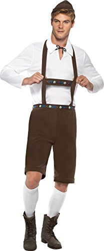 German Lederhosen Costumes (Smiffy's Men's Bavarian Man Costume, Lederhosen Shorts, suspenders, Top and Hat, Around the World, Serious Fun, Size XL, 30286)