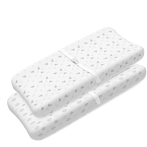 Changing Pad Cover Sheets Set | 2 Pack | Universal Fitted Changing Table Covers for 32x15x5 Pads | Superior Softness, Lifetime Durability - Shrink Proof 180 GSM Jersey Cotton