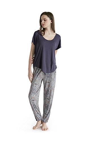 [Ink+Ivy Women's Oversized T-shirt and Jogger Pants Set, Paisley, XXL] (Paisley Silk Jersey)