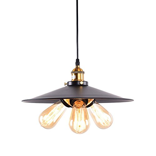 OYI Retro Industrial Pendant Light, 3 Lights Kitchen Pendant Lighting Vintage Ceiling Down Hanging Light Fixture with Round Metal Shade