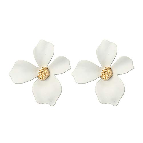 IslandseWomen Fresh Temperament 5-Color Petal Flower Earrings Alloy Earrings (White)