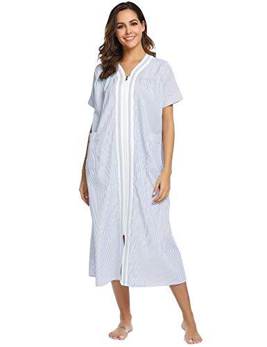 Ekouaer Women Long Nightgowns Zipper Front V Neck Housedress Short Sleeve Striped Loungewear S-XXL