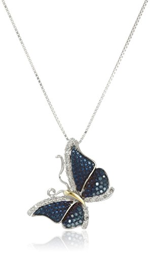 Butterfly Diamond Pendant And Chain - Sterling Silver Blue and White Diamond Butterfly Pendant Necklace (1/4 cttw), 18