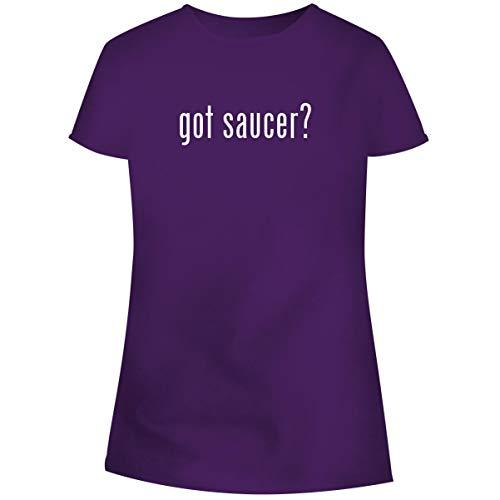 One Legging it Around got Saucer? - Women's Soft Junior Cut Adult Tee T-Shirt, Purple, XX-Large