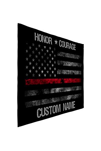 Personalized Custom Name Thin Red Line Fleece Sherpa and Minky Extra Large Printed Support The Fire Department and Firefighters Throw Blankets (Large 60x80 Minky Fleece)