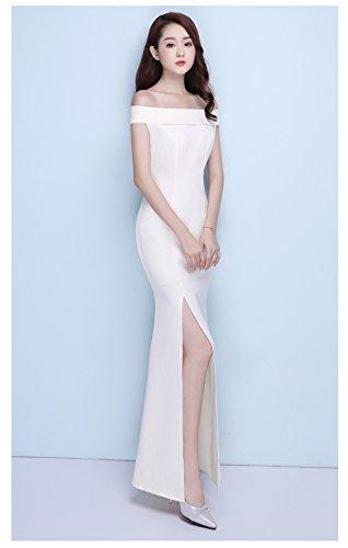 Built In Bra Dress Women`s Evening Gown Off Slim cotyledon White ...