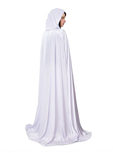White Cloak Costumes (Little Adventures Full Length Deluxe Velvet Cloak/Cape with Lined Hood for Adults - White)