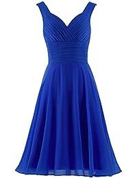Women s V-Neck Chiffon Bridesmaid Dresses Short Prom Gown b3752c3f8