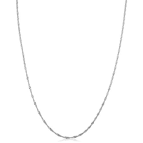 10k White Gold 1mm Singapore Chain Necklace (20 inch) ()