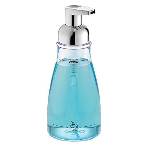 InterDesign Foaming Soap Dispenser Pump, for Kitchen or Bathroom Countertops - Clear/Chrome