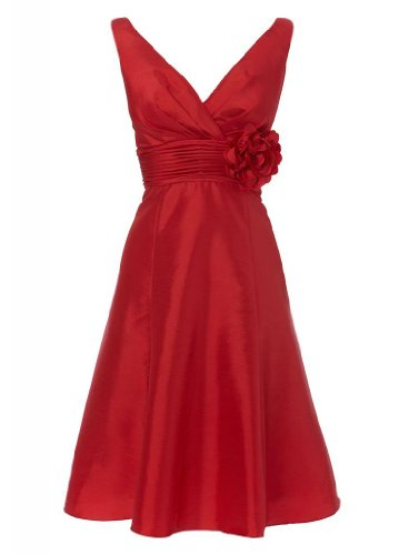 mit Taft Abendkleid Strap Kurze BRIDE Schoene made Teil Rot Blumen Hand Kleid V mit GEORGE Ausschnitt 4AwxfYqxt