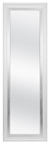 MCS 12x48 Inch Over the Door Mirror, 17x53 Inch Overall Size, White Woodgrain (83050) by MCS