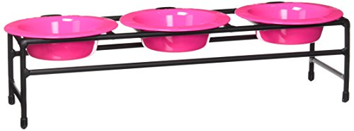 Platinum Pets Triple Diner Feeder with Stainless Steel Dog Bowls, 6 oz, Pink