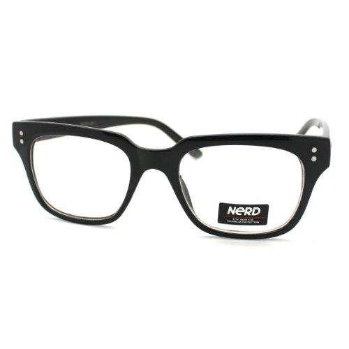 Black Petite Square Horn Rim Frame Fashion Nerdy - Frame Petite Eyeglasses