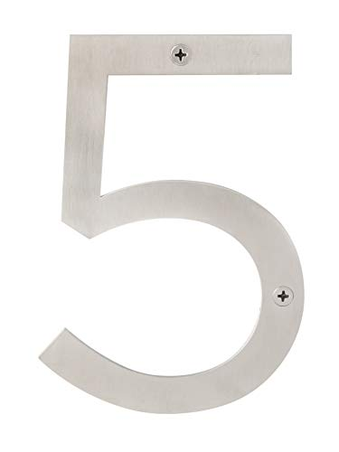 (Sure-Loc Hardware HNSS6-5 SS Modern Satinless Steel House Numbers, 6