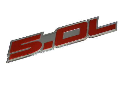 5.0L Emblem in Red on Highly Polished Aluminum Silver Chrome Engine Swap Badge for Ford Mustang GT F-150 Boss 302 Coyote Cobra GT500 V8 Crown Vic ()