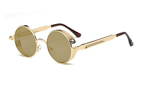 Or rétro de Keephen polarisées rondes de soleil unisexe punk Lunettes Or soleil lunettes lunettes mode 688wZq05