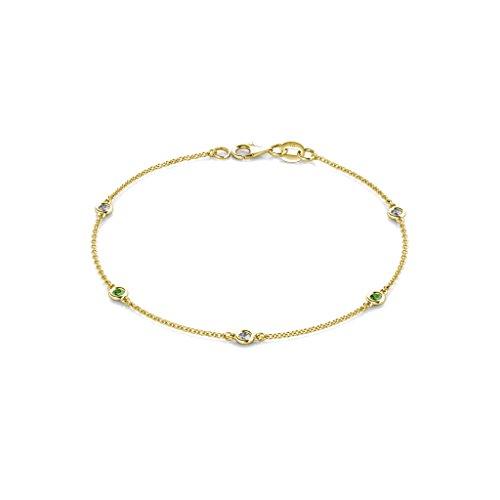 TriJewels Green Garnet and Lab Grown Diamond 2.4mm Womens Station Bracelet 0.28 ctw 14K Yellow Gold