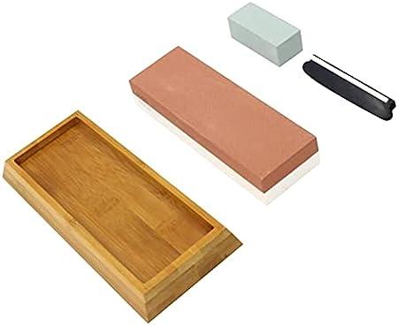 SHETSTONE PREMIUM Piedra de afilado Piedra 2 grano lateral 1000/6000 Afilador de piedra de agua con la guía de ángulo y base de bambú no deslizante (Color : 1000 6000 Grit set)