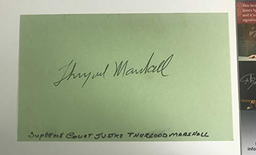 Thurgood Marshall Autographed 3x5 Index Card - JSA Authenticated