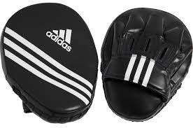 Adidas Short Curved Workout Punching/Focus Mitts - Black w/White
