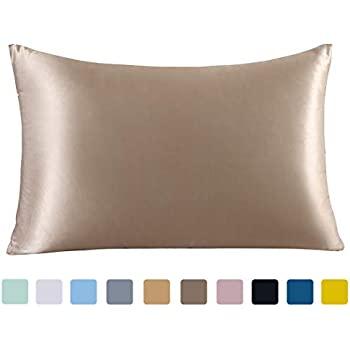 ZIMASILK 100% Mulberry Silk Pillowcase for Hair and Skin,with Hidden Zipper,Both Side 19 Momme Silk,600 Thread Count, 1pc (Queen 20''x30'', Taupe)