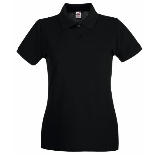 Fruit Of The Loom Lady-Fit Premium Polo Shirt 40,Schwarz - Schwarz