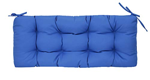 RSH Décor Sunbrella Canvas Capri Blue Indoor/Outdoor Tufted Cushion with Ties for Bench, Swing, Glider - Choose Size (38