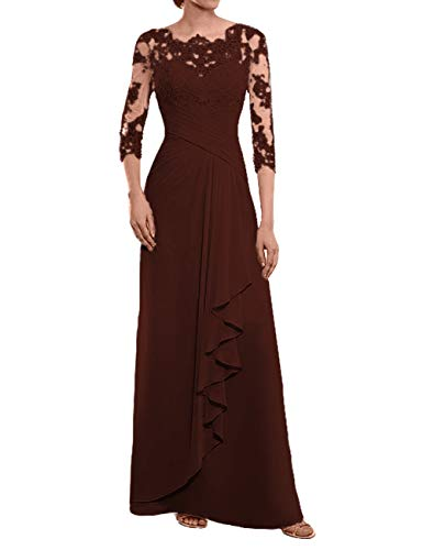 Mother of The Bride Dresses Long Evening Formal Dress Lace Prom Maroon -
