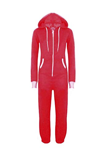 (WOTOGOLD Men and Women Adult Pajamas Sportswear Hooded Unisex Jumpsuit Red)