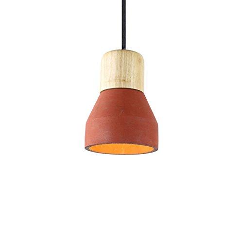 Loft Oak Pendant Light, Motent Industrial Vintage 4.7 inches Dia Minimalist Cement Ceiling Light with Wood Lampholder Concrete Hanging Light Fixture for Resturant Bar Kitchen - Red ()