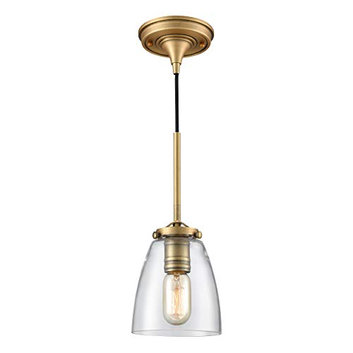 WILDSOUL 20051AB Vintage Industrial Brass Pendant Light Mini Glass Shade, Antique Brass Finish Modern Farmhouse Hanging Light Fixture, Real Brass Parts/Sloped Ceiling Adapter Included