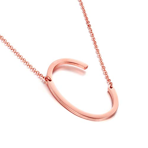 MEMGIFT Big Letter Necklace Stainless Steel Initial Pendant Best Friends Jewelry for Girls Women Her Wedding Birthday Christmas (Rose Gold C)