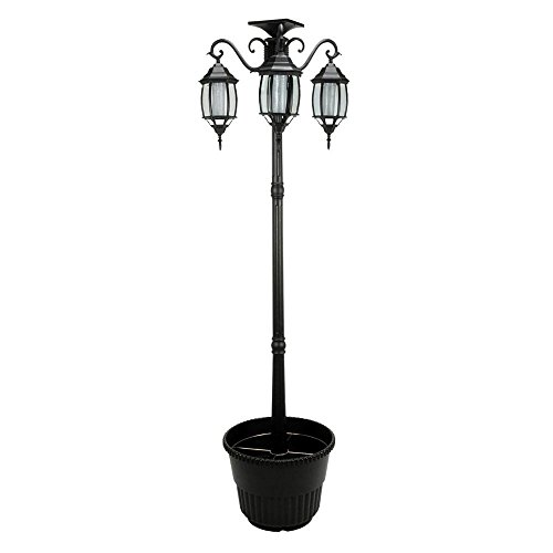 6.7 ft (80 in) Tall Solar Lamp Post and Planter 3 Heads - Black Product SKU: (White Fisher 12 Light)