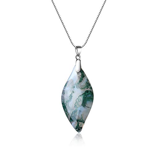 Leaf Silver Agate Necklace (COAI 925 Sterling Silver Moss Agate Leaf Amulet Pendant Necklace for Women)