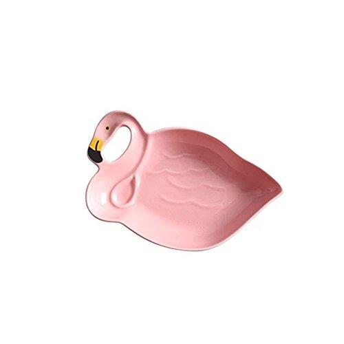 (Bird Shape Dishes Plate Pottery Medium Dish Candy Fruit Dish Pink Cute Flamingo Plate Dishware (S))