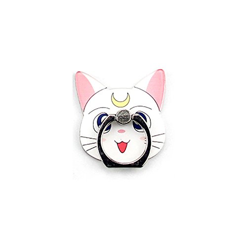 (ZOEAST(TM) Sailor Moon Luna Diana Cat Kitty Ring Universal 360° Rotating Phone Buckle Tablet Finger Grip Ring Stand Holder Kickstand Tablets iPhone 4S 5 5S 6 6S SE 7 Plus Samsung iPad (Moon Cat White))