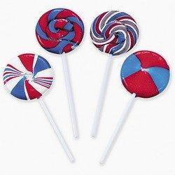 Bulk Lollipops Swirl (Patriotic Swirl Suckers (1 dozen) - Bulk)