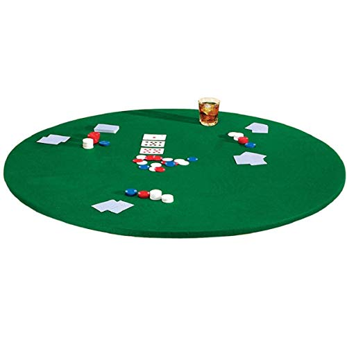 Fitted Round Elastic Edge Solid Green Felt Table Cover for Poker Puzzles Board Games Fits 36 Inch To 48 Inch Round Table -  Also Fits 36 Inch Square Table (Card Felt Green Table)
