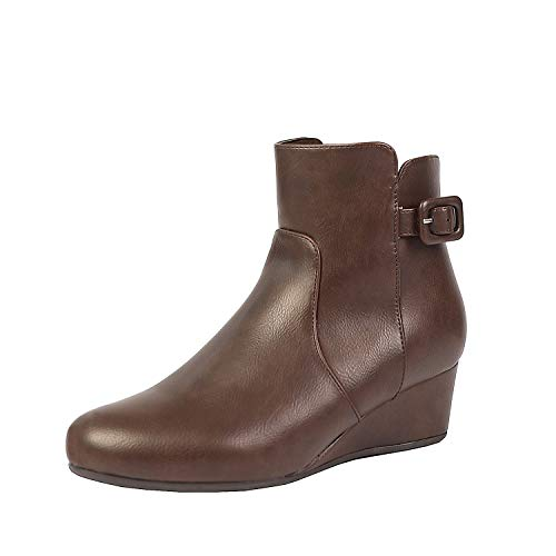 DREAM PAIRS Women's Lang Brown Pu Low Wedge Heel Ankle Booties Size 10 M US