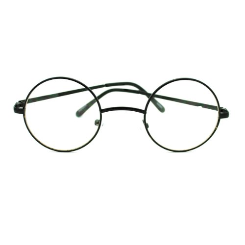 e254e46c8fc Amazon.com  Black Round Circle Clear Lens Eyeglasses Small Size Thin Frame  Unisex Glasses  Clothing