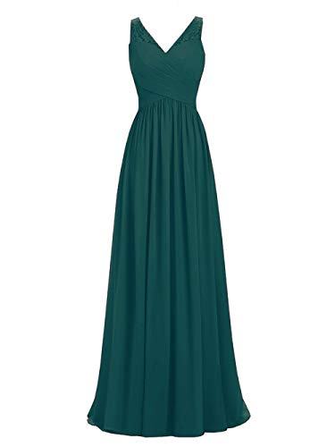 A-line V-Neck Chiffon Long Empire Bridesmaid Dresses Simple Prom Dresses (16, - V-neck Womens Peacock